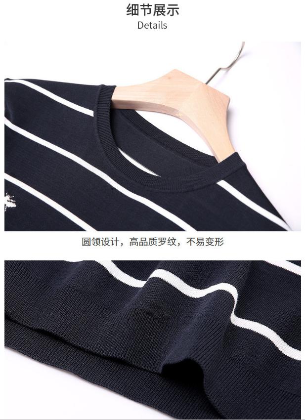 高档条纹刺绣圆领针织T恤(图9)